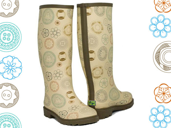 Plueys Sew Cute Vintage Buttons Rain Boots
