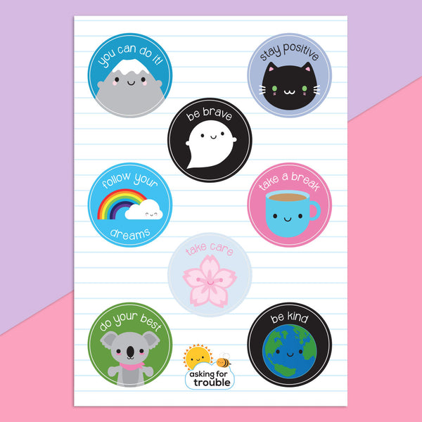 Kawaii Motivation & Self Care Sticker Sheets