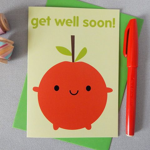 Happy Apple Get Well Soon Card
