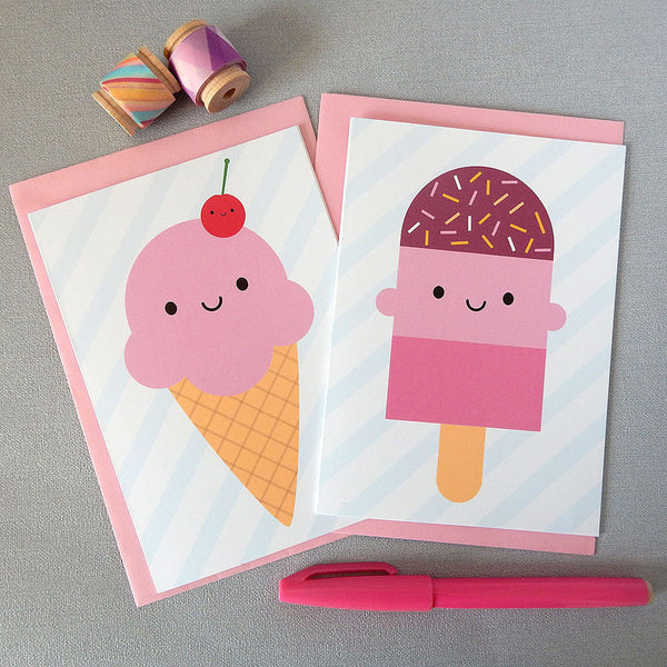 Summer Ice Cream & Ice Lolly Cards
