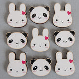Bunny & Panda Printed Wooden Brooches