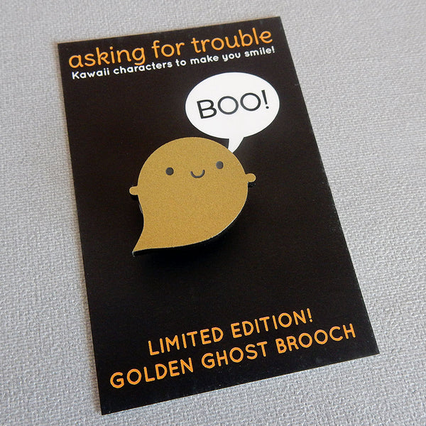 Golden Ghost Acrylic Brooch - Limited Edition!