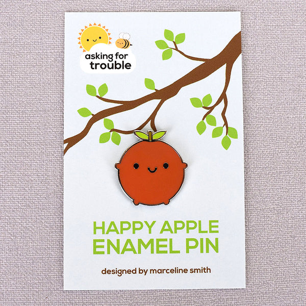 Happy Apple Kawaii Fruit Enamel Pin