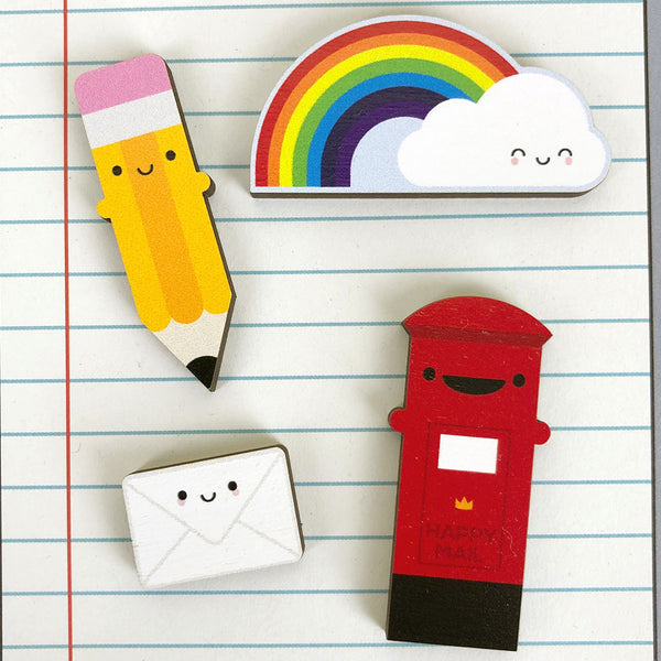 Happy Pencil Kawaii Wooden Pin
