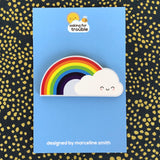 Rainbow & Cloud Kawaii Wooden Brooch