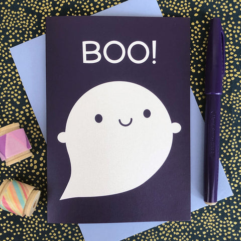 Boo! Happy Ghost Halloween Card