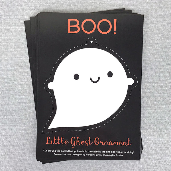 Little Ghost Halloween Ornament Postcard