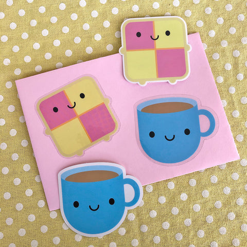 Tea & Battenberg Cake Kawaii Vinyl Stickers