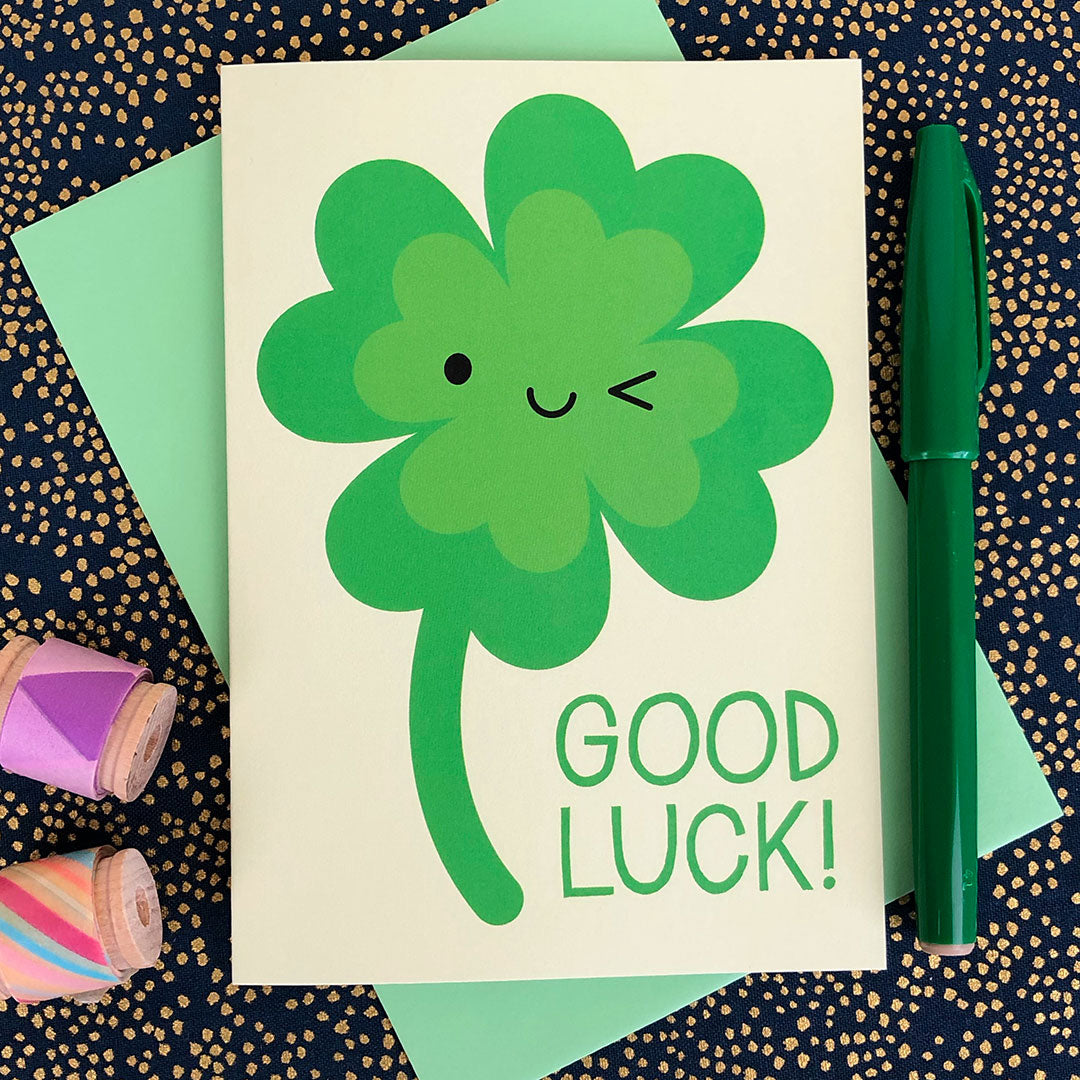 Four Leaf Lucky Clover Good Luck Card