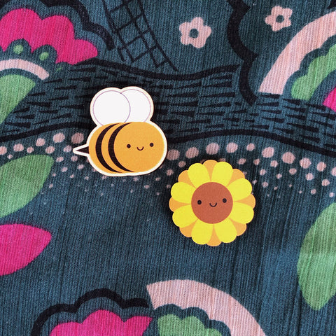 Bee & Sunflower Kawaii Wooden Pins