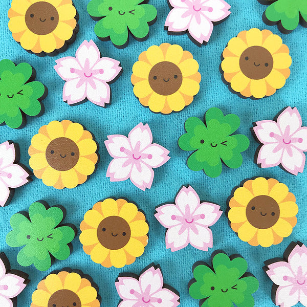 Spring Flowers Kawaii Wooden Pins