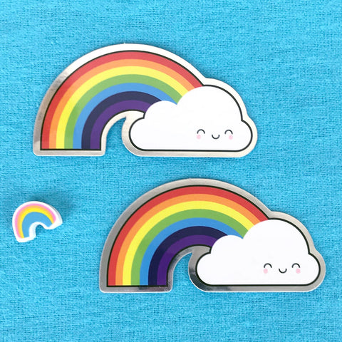 Kawaii Rainbow & Cloud Metallic Stickers