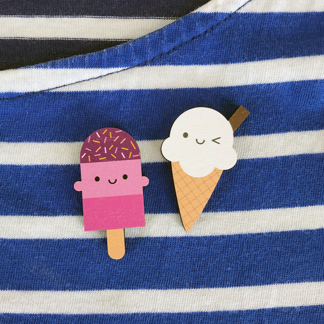Ice Cream Treats Kawaii Wooden Pins