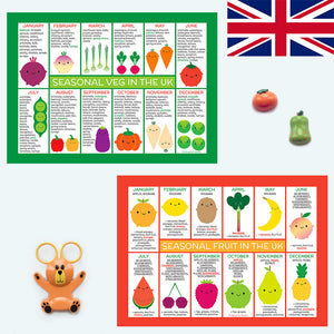 UK Seasonal Fruits & Vegetables Charts
