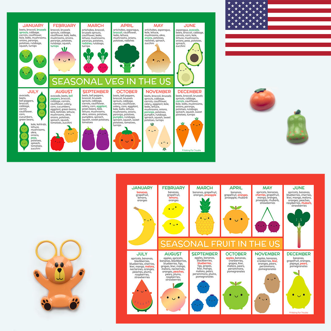 USA Seasonal Fruits & Vegetables Charts
