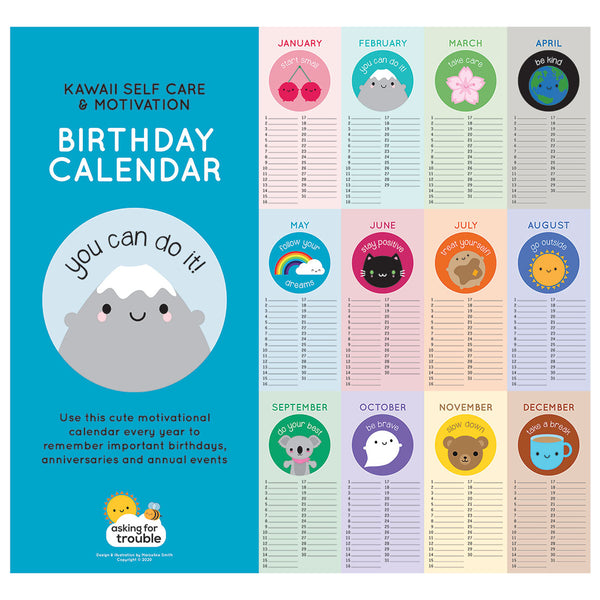 Kawaii Motivation Birthday Calendar For Every Year