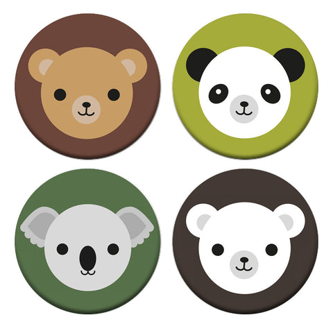 Kawaii Autumn Bears Badge Set