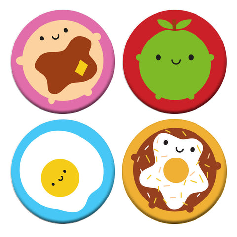 Kawaii Breakfast Food Badge Set