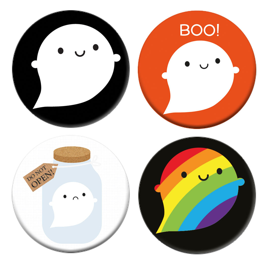 Halloween Ghosts Kawaii Badges