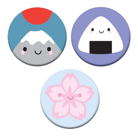 Kawaii Japan Fuji, Onigiri & Sakura Badge Set