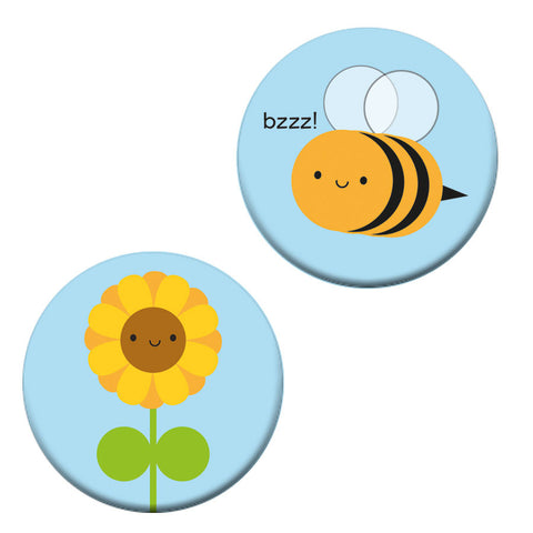 Sunflower & Bee Kawaii Badges