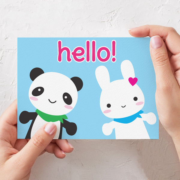 Hello Bunny & Panda Super Cute Kawaii Cards