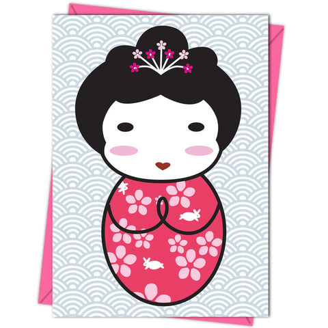 Japanese Kokeshi Doll Card