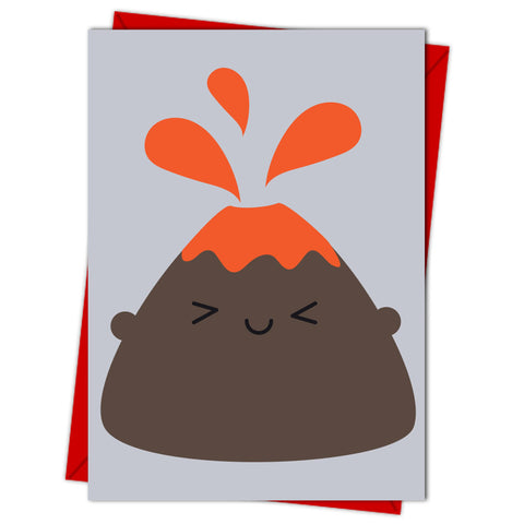 Kawaii Volcano Card