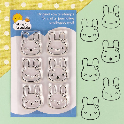 Kawaii Bunny Emotions Clear Stamps Sheet
