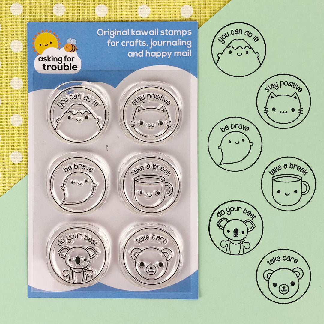 Kawaii Motivation Clear Stamps Sheet