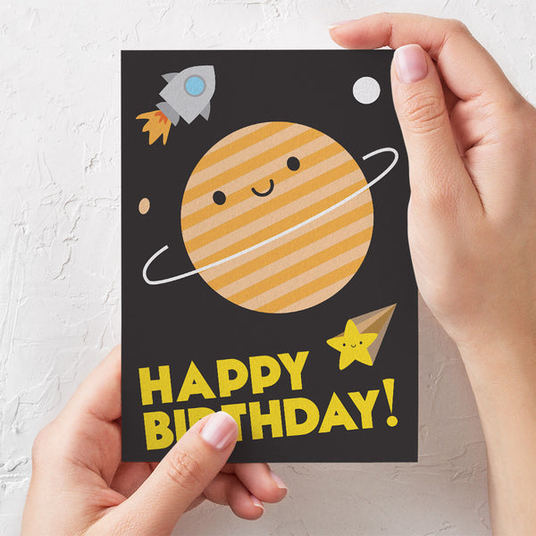 Happy Birthday in Space Planet Card