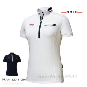 2017 New PGM Women's Golf T-shirt Golf Apparel Ladies Short Sleeve Tops Summer T Shirt Breathable Comfort Polo Shirt