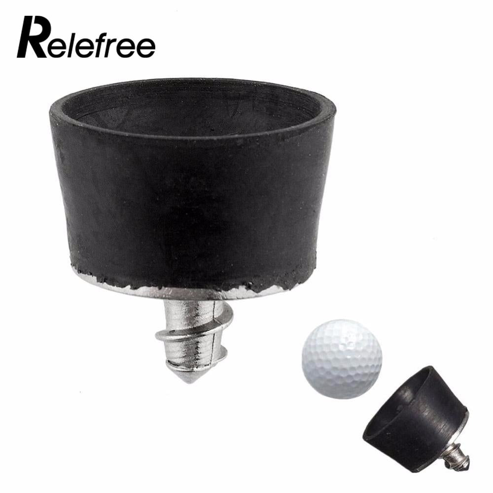 Relefree Black Mini Rubber Golf Ball Pick Up Putter Grip Retriever Tool Suction Cup Pickup Screw Golf Training Aids