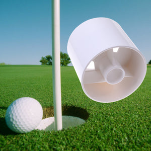 Golf Hole Cup Putting Putter Yard Garden Training Backyard Practice Stick Putting Chipping Golf Training Aids White Plastic