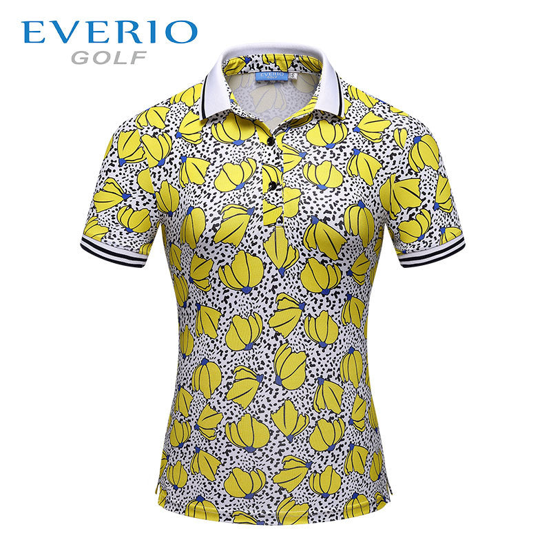 EVERIO Golf clothing women golf sports short - sleeved printing T - shirt summer breathable quick dry golf POLO shirt