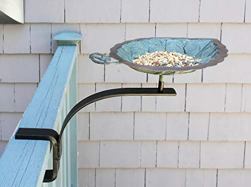 Achla Designs Aspen Leaf Rail Mount Bracket Birdbath, Antique Brass Plated, Black