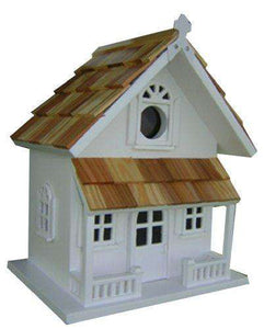 Home Bazaar Victorian Cottage Birdhouse, White - World of Birdhouses
