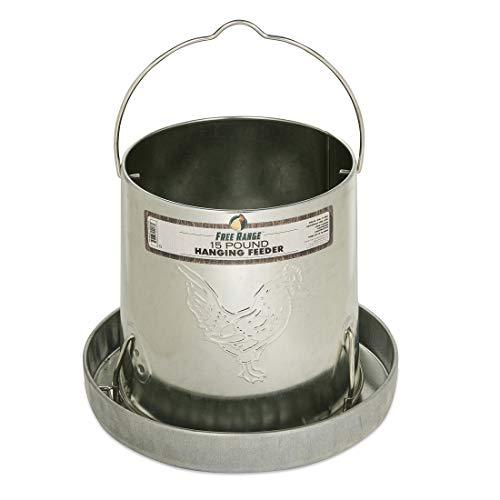 Harris Farms Galvanized Hanging Poultry Feeder, 15 lbs, Metal