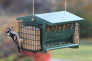 Cherry Valley Hopper Feeder with Suet Cages - World of Birdhouses