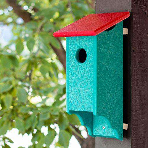 Recycled Plastic Amish Bluebird House Red/Aruba Blue♻️