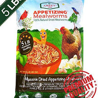 Amzey Mealworms -5 Lbs - 100% Non-GMO Dried Mealworms