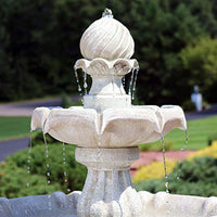Sunnydaze 2-Tier Solar Fountain with Battery Backup White Earth Finish