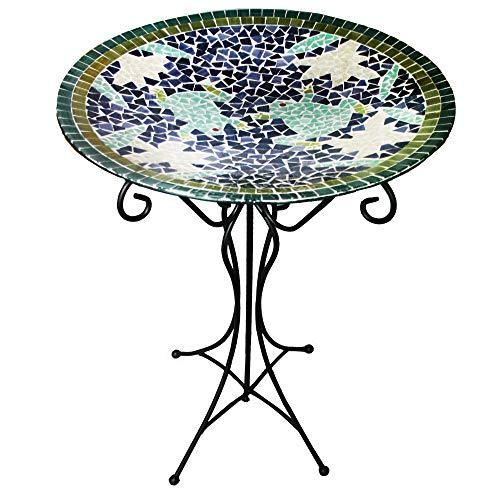 Gardener's Select Mosaic Glass Bird Bath and Stand, Frog Design