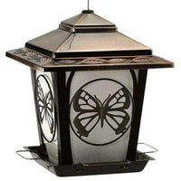 AUDUBON Hopper Bird Feeder with Butterfly Design, Bronze - World of Birdhouses