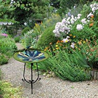 Alpine Corporation Beige Mosaic Birdbath with Black Metal Stand