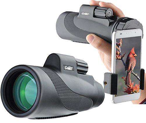 Gosky Titan 12X50 High Power Prism Monocular and Quick Smartphone Holder