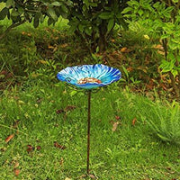 "MUMTOP 26"" Height Glass Birdbath With Metal Stake Purple"