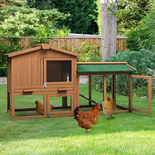 Tangkula Chicken Coop, Wooden Large Outdoor Poultry Cage 58