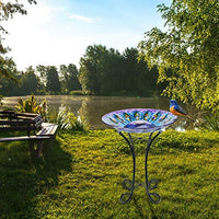 VCUTEKA Solar Glass Bird Bath
