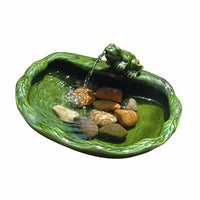 Smart Solar Solar Powered Ceramic Frog Water Feature, Green Glazed Ceramic